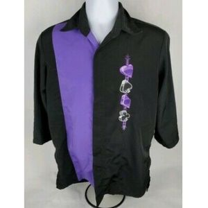 Black & Purple Suits of Cards Bowling Shirt